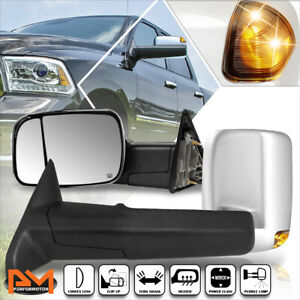 For 09 16 Dodge Ram 1500 5500 Power Heated Chrome Towing Mirror Smoked Led Lamp