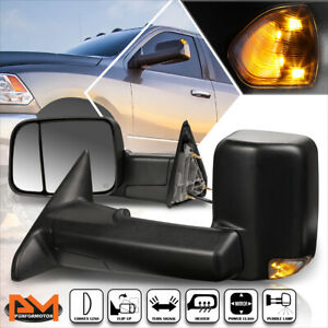 For 09 16 Dodge Ram 1500 5500 Powered Heated Towing Mirror Smoked Led Lamp Pair