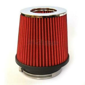 3 Inlet Short Ram Cold Air Intake Round Cone Air Filter Chrome red