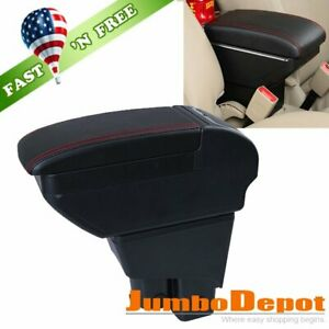 Us Black Leather Center Console Stroage Armrest Fit For 2002 2008 Honda Fit Jazz