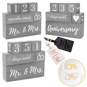 Wedding Countdown Calendar Block Mr And Mrs Luggage Tags His And Hers Ring
