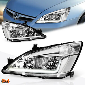 For 03 07 Honda Accord Led Drl Chrome Housing Clear Corner Headlight Lamp Pair