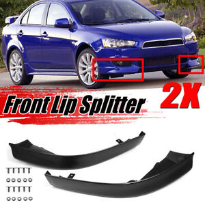 Front Bumper Lip Spoiler Side Splitter Unpainted For 2008 2015 Mitsubishi Lancer