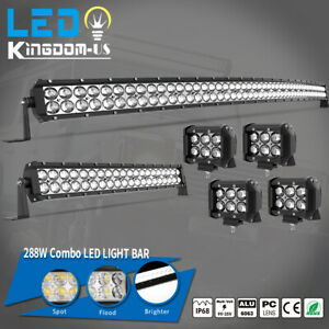 50inch Led Light Bar Curved 52 22 Combo 4 Pods Offroad Fit Dodge Ram 1500