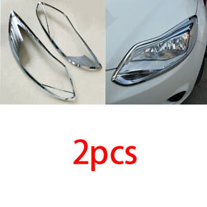 Fit For 2012 2014 Ford Focus Chrome Abs Front Headlight Lamp Cover Decor 2pcs