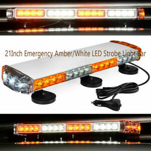 21 Led Strobe Light Bar Magnetic Roof Top Mount Emergency Amber white 12v 24v