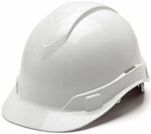 Full Safety Helmet Hard Hat Protection Glossy 4 Point Ratchet Suspension White