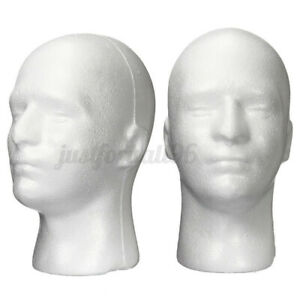 11 Male Styrofoam Foam Mannequin Manikin Head Model Wigs Glasses Cap Display