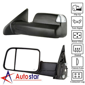 Black Power Heated Towing Mirrors Set For 09 15 Dodge Ram 1500 2500 3500 Pickup