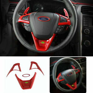 For 2013 2020 Ford Mondeo fusion Red Carbon Fiber Steering Wheel Button Trim 4pc