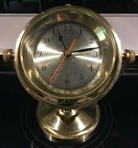 Bell Clock Co Quartz Ship Brass Glass Swivel Clock Usa