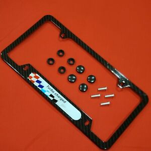 License Plate Frame Bmw Power Turbocharged Carbon Fiber Style Front Rear Cover