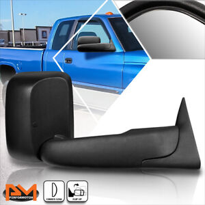 For 94 02 Dodge Ram 1500 2500 3500 Manual Telescoping Black Towing Mirror Right