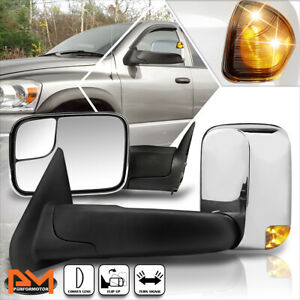 For 02 09 Dodge Ram 1500 3500 Manual Telescoping Towing Mirror led Signal Chrome