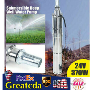 370w Solar Water Pump Deep Well Submersible Pump 24v Farm Stainless Steel 2m h
