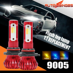 9005 9145 Led Fog Light Bulb 3 Mode Headlight 3000k 8000k Flicker Blue Yellow