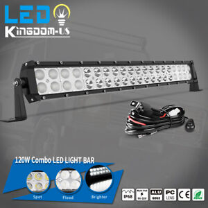 22inch 120w Led Light Bar Flood Spot Combo For Offroad Suv Truck Atv With Wiring
