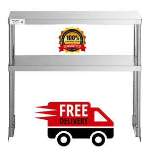 Stainless 12 X 36 Steel Work Prep Table Commercial Double Deck Overshelf Shelf