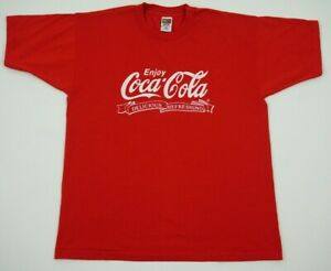 Vintage Red Coca Cola shirt tagged extra large single stitched Fruit Of The Loom