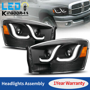 Black For 2006 2008 Dodge Ram 1500 2500 3500 Led Projector Headlights Headlamps