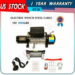 8000lbs 12v Electric Winch Steel For Truck Trailer Pickup Suv Wireless Remote