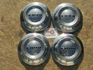 1952 54 Ford Customline Mainline Poverty Dog Dish Hubcaps Set Of 4