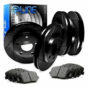 For 2011 2012 Ford Mustang Front Rear Black Slotted Brake Rotors ceramic Pads