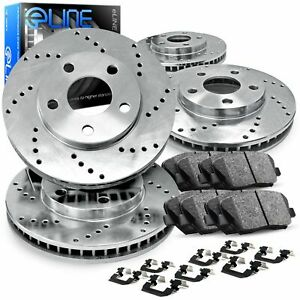 For 2011 2012 Ford Mustang Front Rear Eline Drilled Brake Rotors ceramic Pads