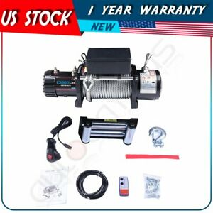 13000lbs Electric Winch Steel Cable 12v Recovery Remote Control For Jeep Truck