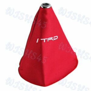 New Red Stitch Racing Fabric Jdm Trd Racing Shifter Boot Cover Mt At For Toyota