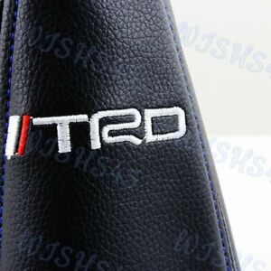 Blue Stitch Pvc Black Leather Jdm Trd Sport Shifter Boot Cover Mt At For Toyota