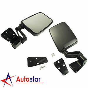 Black Manual Side View Door Mirrors Left Right Pair Set For Jeep Wrangler 87 02