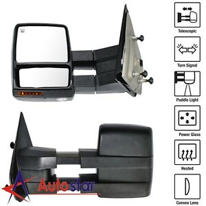 Power Heated Signal Puddle Towing Mirrors Pair Set For 07 14 Ford F150 Pickup