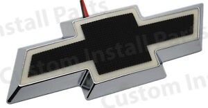 Illuminated Led Front Grille Rear Bowtie Black Emblem Badge Light Up Fits Chevy