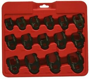 Grip On Tools 90142 15 Piece Metric 3 8 1 2 Drive Crow Foot Wrench Set Mm