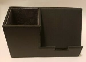 Staples 1234090 Pencil Cup With Cell Phone Holder Faux Leather Black