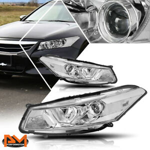 For 08 12 Honda Accord Coupe Projector Headlight lamp Chrome Housing Clear Side