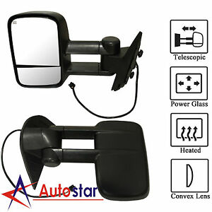 Black Power Heated Towing Side View Mirrors Lh Rh Pair Set For 07 13 Chevy Gmc