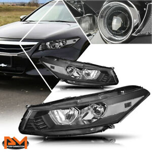 For 08 12 Honda Accord Coupe Projector Headlight lamp Black Housing Clear Side