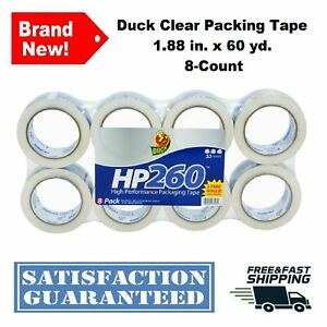 Duck Packing Tape Clear Glossy 1 88 X 60 Yd Refill Heavy Duty Acrylic 8 count