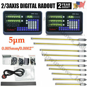 2 3axis Digital Readout Linear Scale Dro Display 5m Sensor Grind Mill Lathe usa