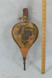 Fireplace Bellows Turtle Top Paint Decoration Carved Early Antique 18th 19th C