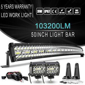 52 Curved Led Light Bar Combo 4 Pods Cube For 93 98 Jeep Grand Cherokee Zj 50