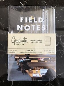Field Notes Botebooks Graduate Hotels Brand New Sealed Pack 3 Notebooks