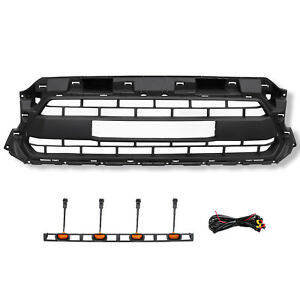 Front Grill Fit For 2012 2015 Toyota Tacoma Trd Pro Black Bumper 4 Led Lights
