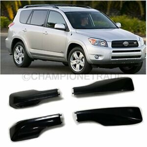 Black Roof Rack Cover Rail End Shell Replacement Set For Toyota Rav4 2001 2005