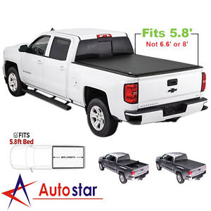 Soft Roll Up Tonneau Cover For 2007 2013 Chevy Silverado Gmc Sierra 5 8ft Bed