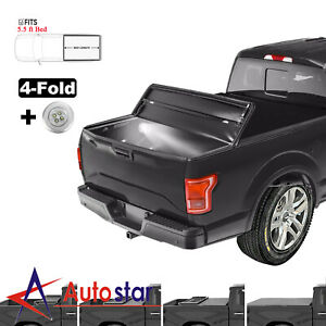 5 5ft 4 fold Soft Tonneau Cover For 2009 14 Ford F150 Truck Bed W Led Strip