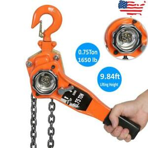 Chain Lever Block Hoist Come Along Ratchet Lift 0 75 Ton Pulley Lifting 3meters