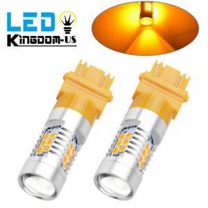 Pair 3156 3157 Led 21 smd Yellow Amber Turn Signal Running Taillight Bulbs